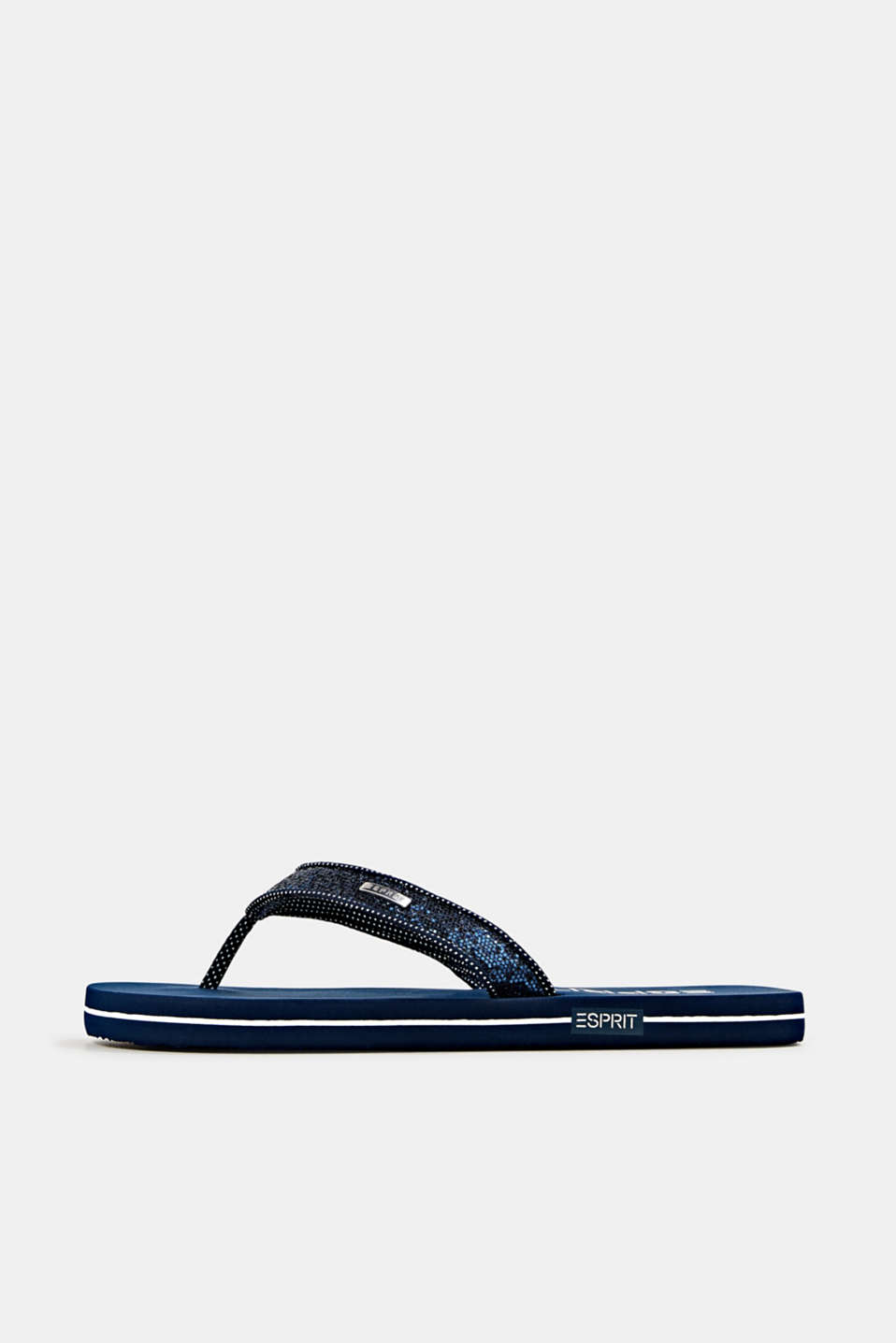 Slip slops with glittery straps, NAVY, detail image number 0