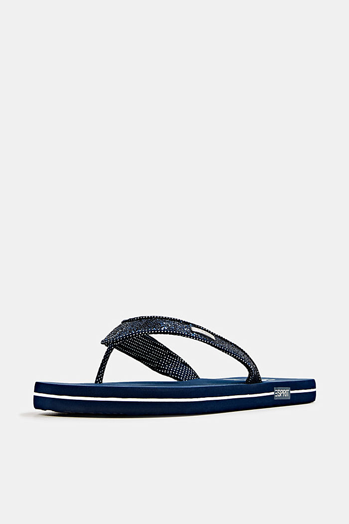 Slip slops with glittery straps, NAVY, detail image number 2