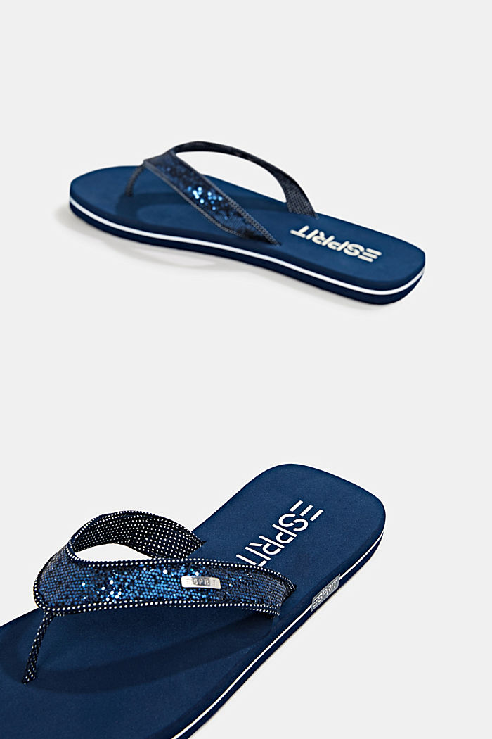 Slip slops with glittery straps, NAVY, detail image number 3
