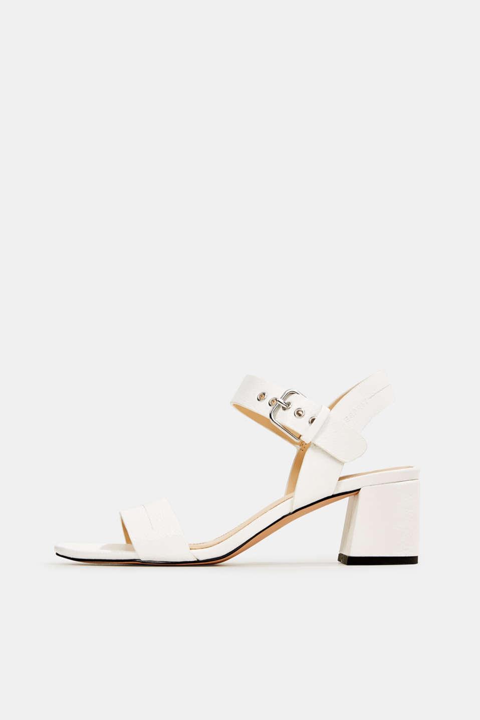 Sandal with block heel, WHITE, detail image number 0