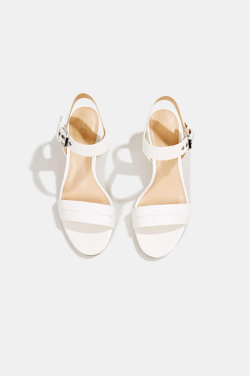 Sandal with block heel, WHITE, detail image number 1