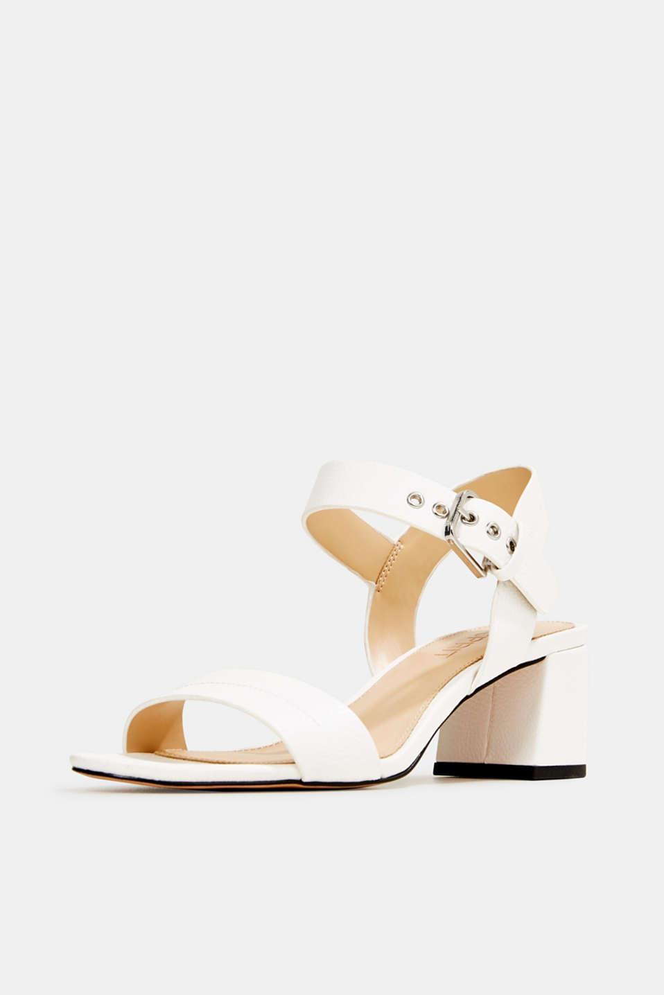 Sandal with block heel, WHITE, detail image number 2