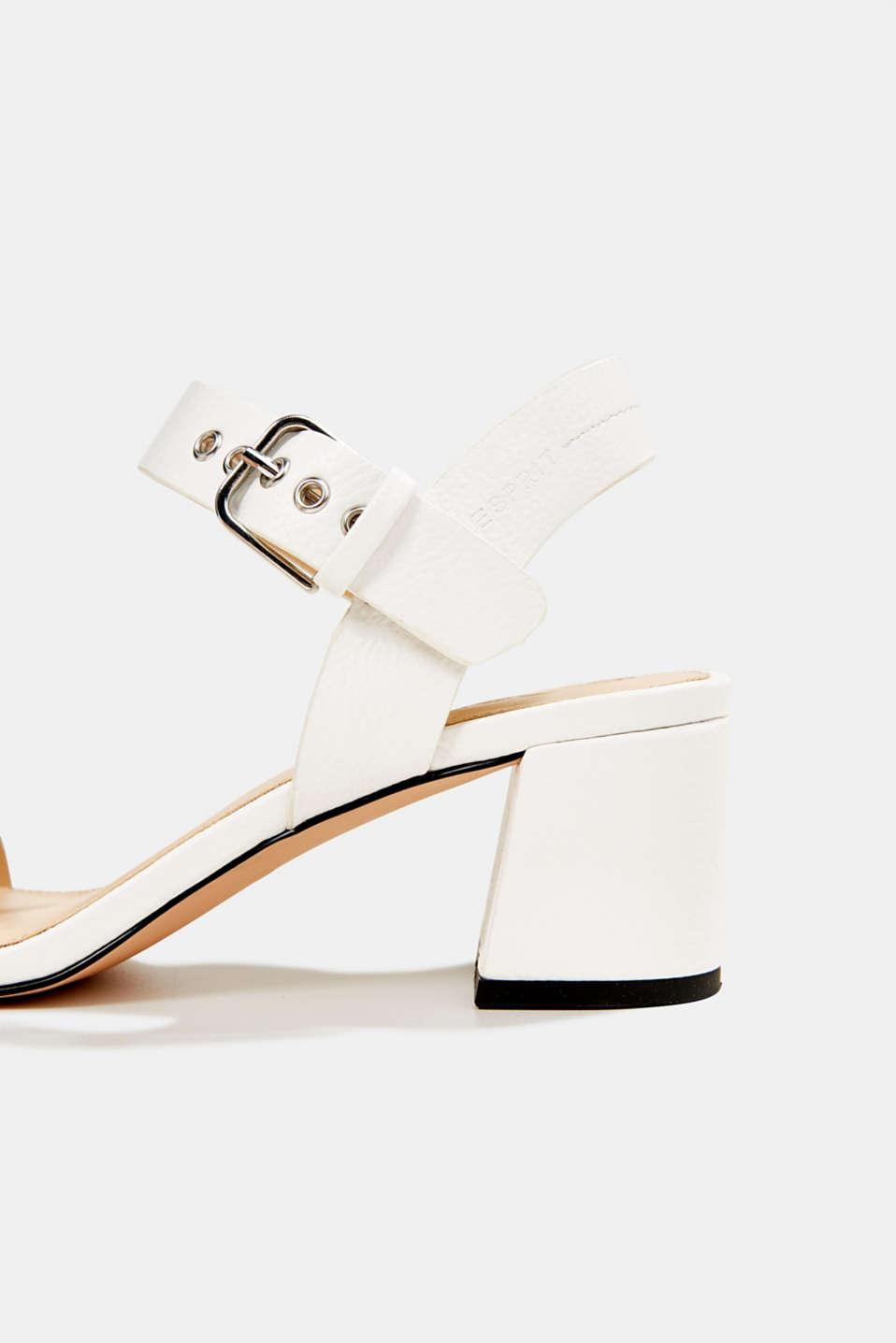 Sandal with block heel, WHITE, detail image number 5