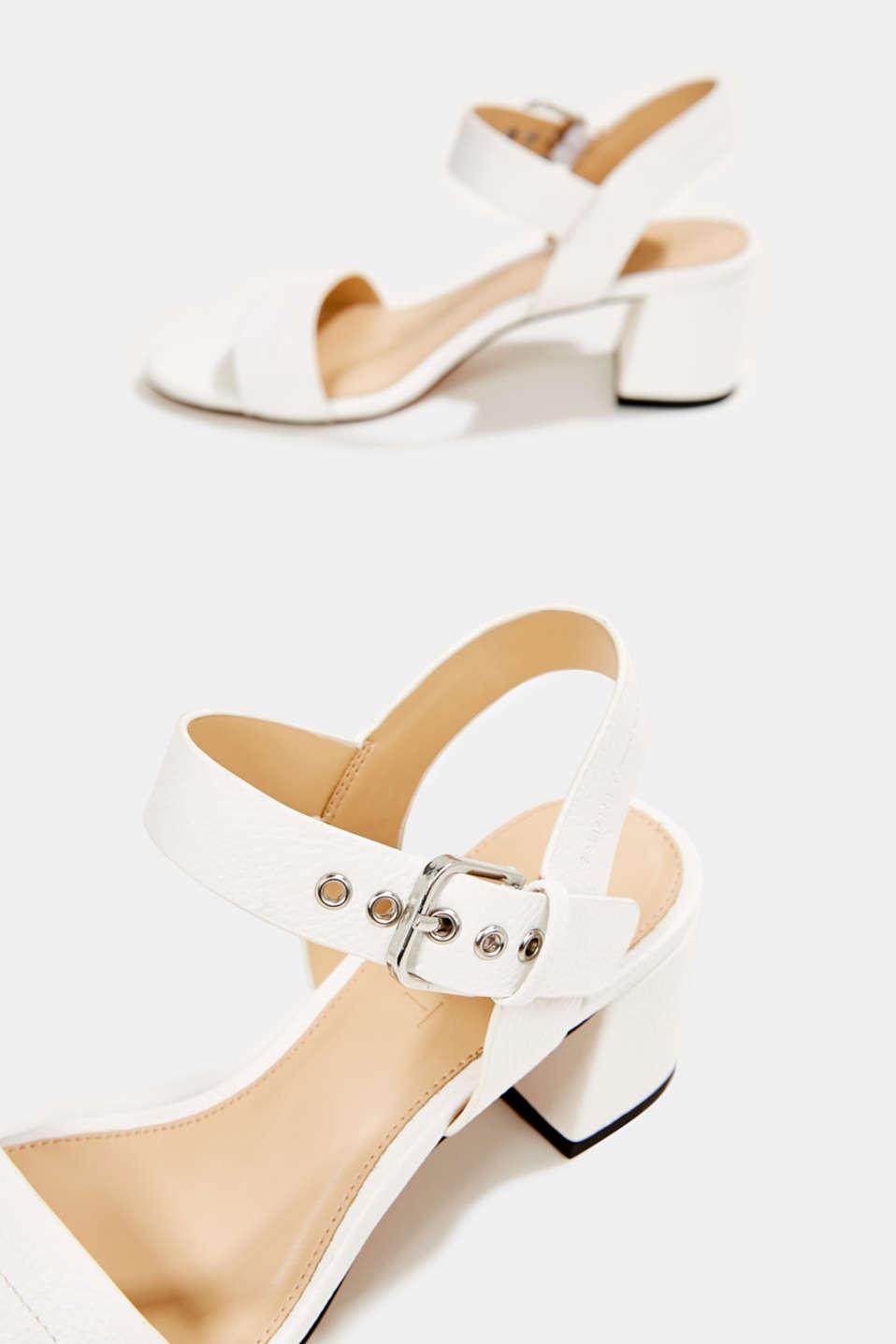 Sandal with block heel, WHITE, detail image number 6