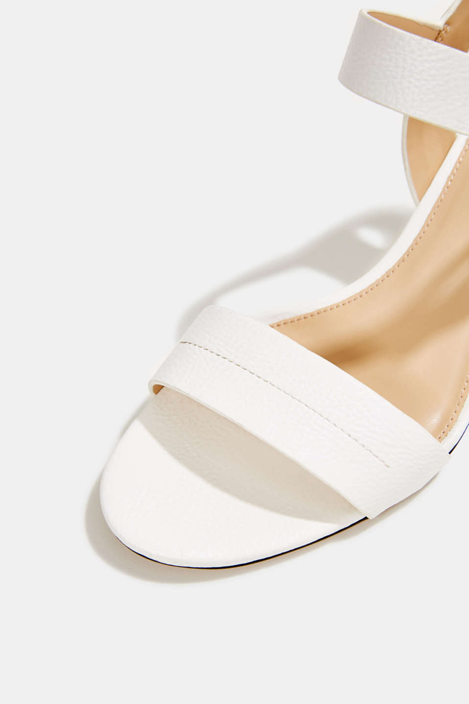 Sandal with block heel, WHITE, detail image number 4