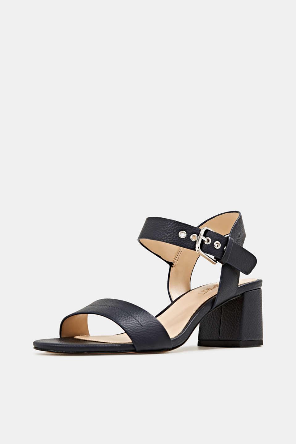 Sandal with block heel, NAVY, detail image number 1