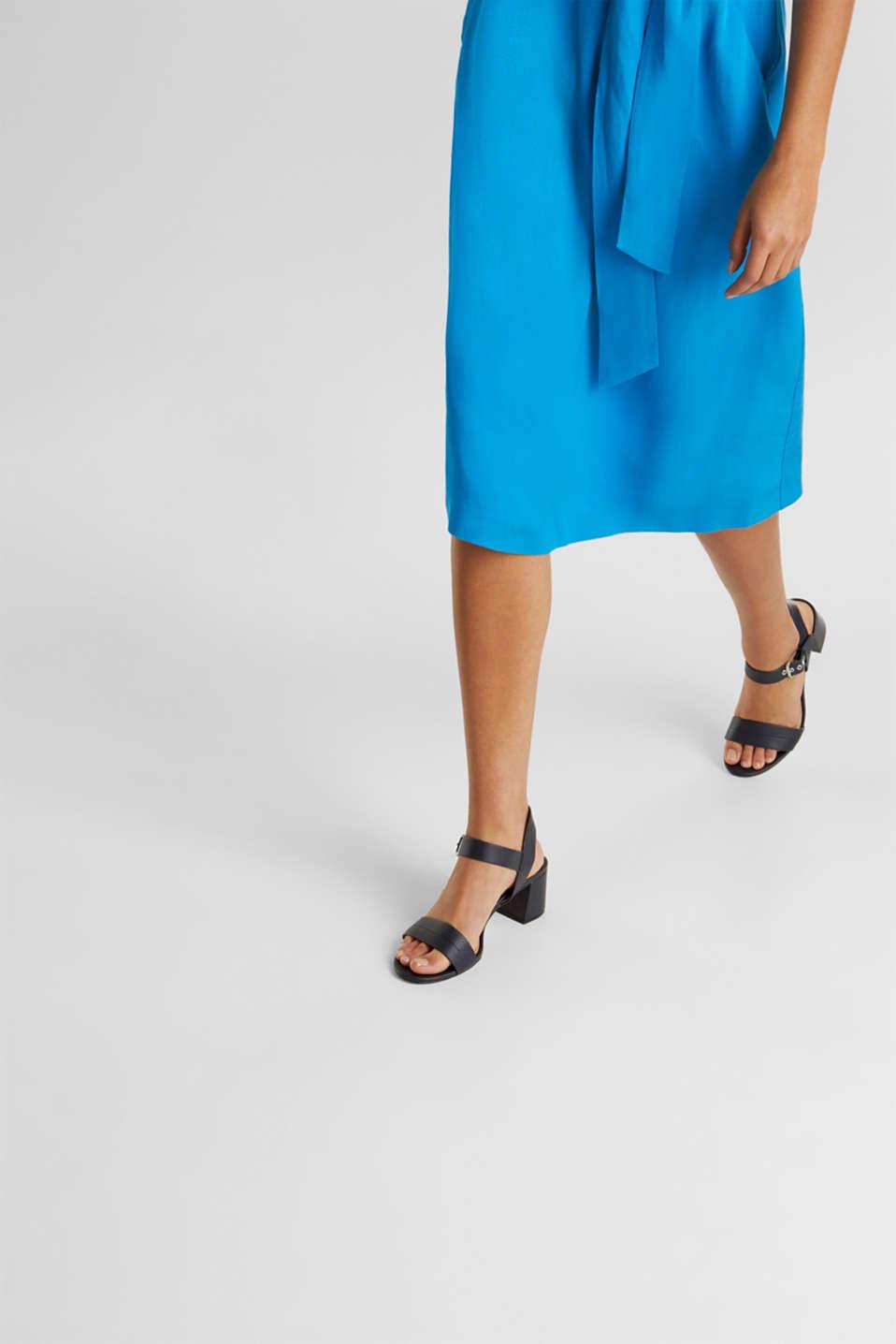 Sandal with block heel, NAVY, detail image number 2