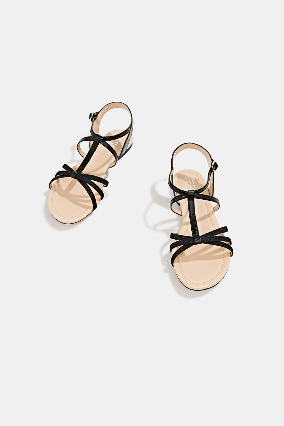 Sandals with glitter, in faux leather, BLACK, detail image number 1
