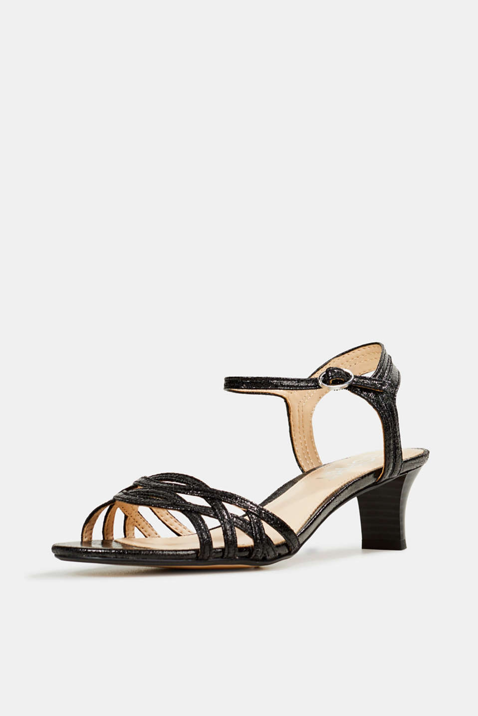 Sandals with straps in a braided look, BLACK, detail image number 2