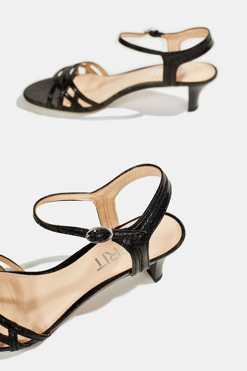 Sandals with straps in a braided look, BLACK, detail image number 5