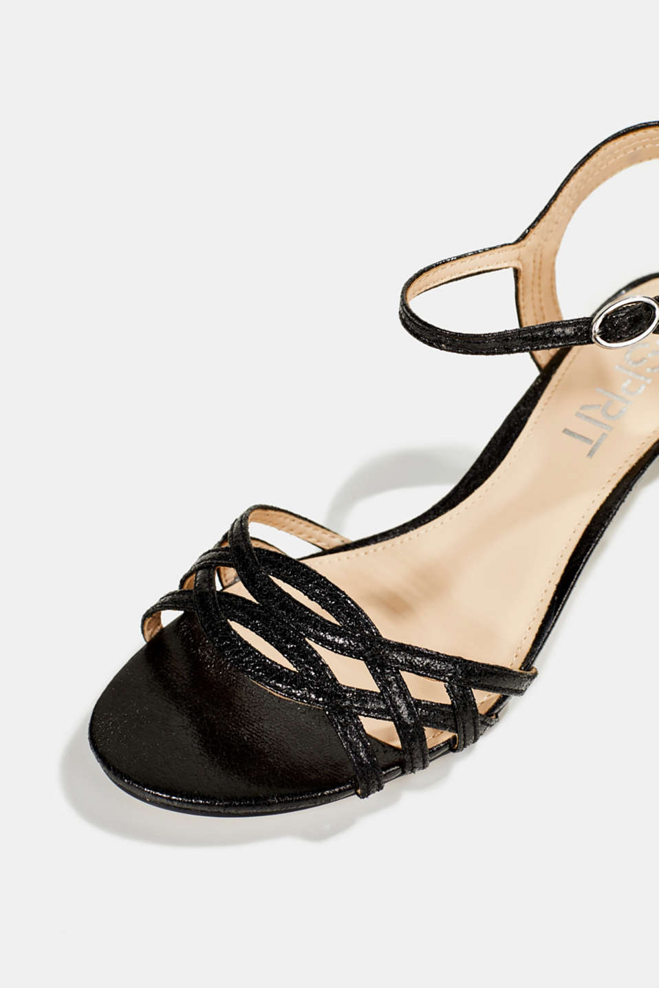 Sandals with straps in a braided look, BLACK, detail image number 4