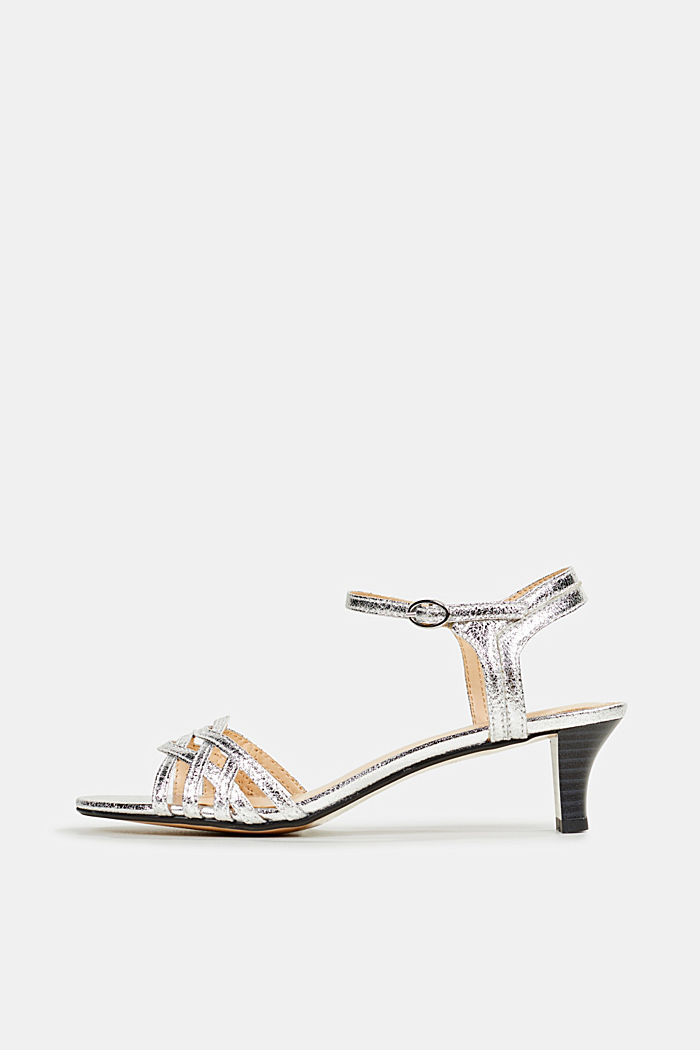 Sandals with straps in a braided look, SILVER, detail image number 0