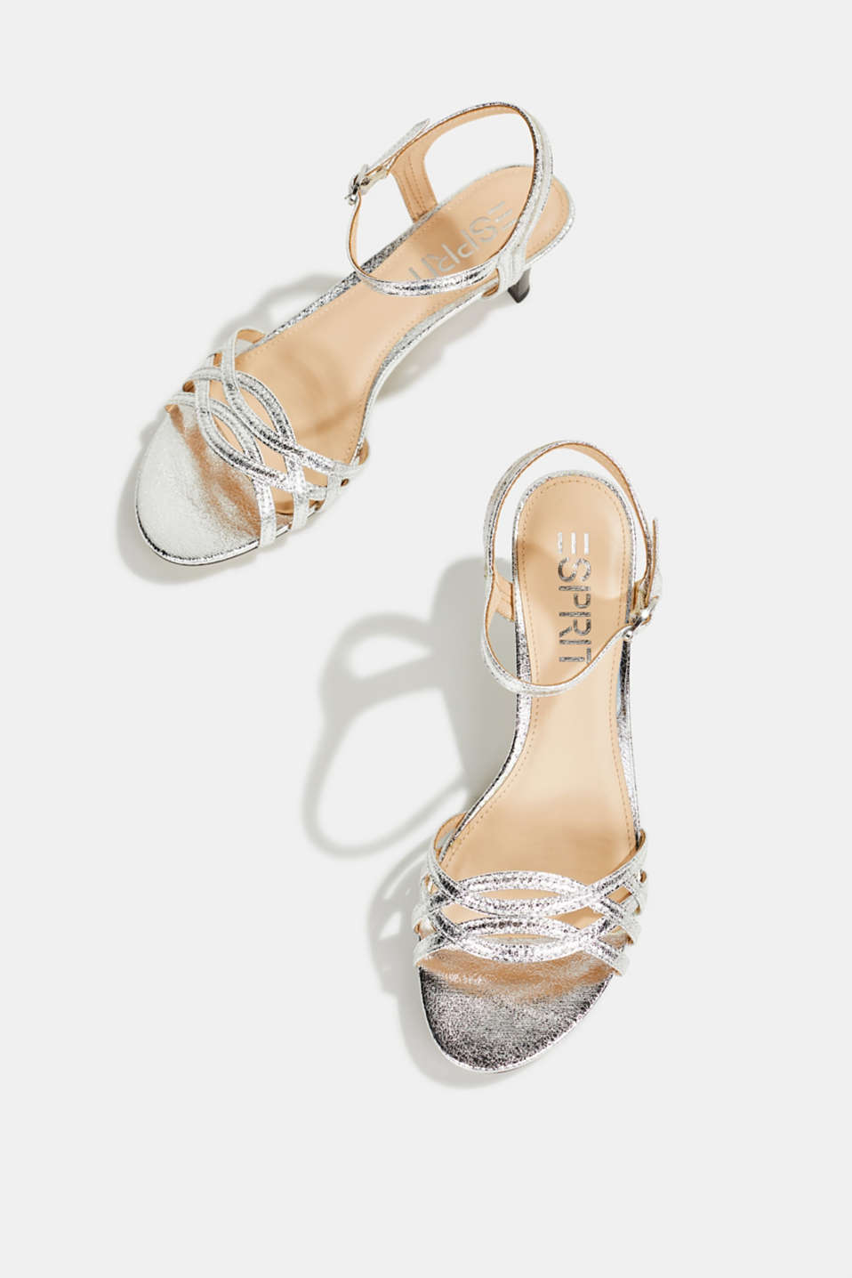 Sandals with straps in a braided look, SILVER, detail image number 1