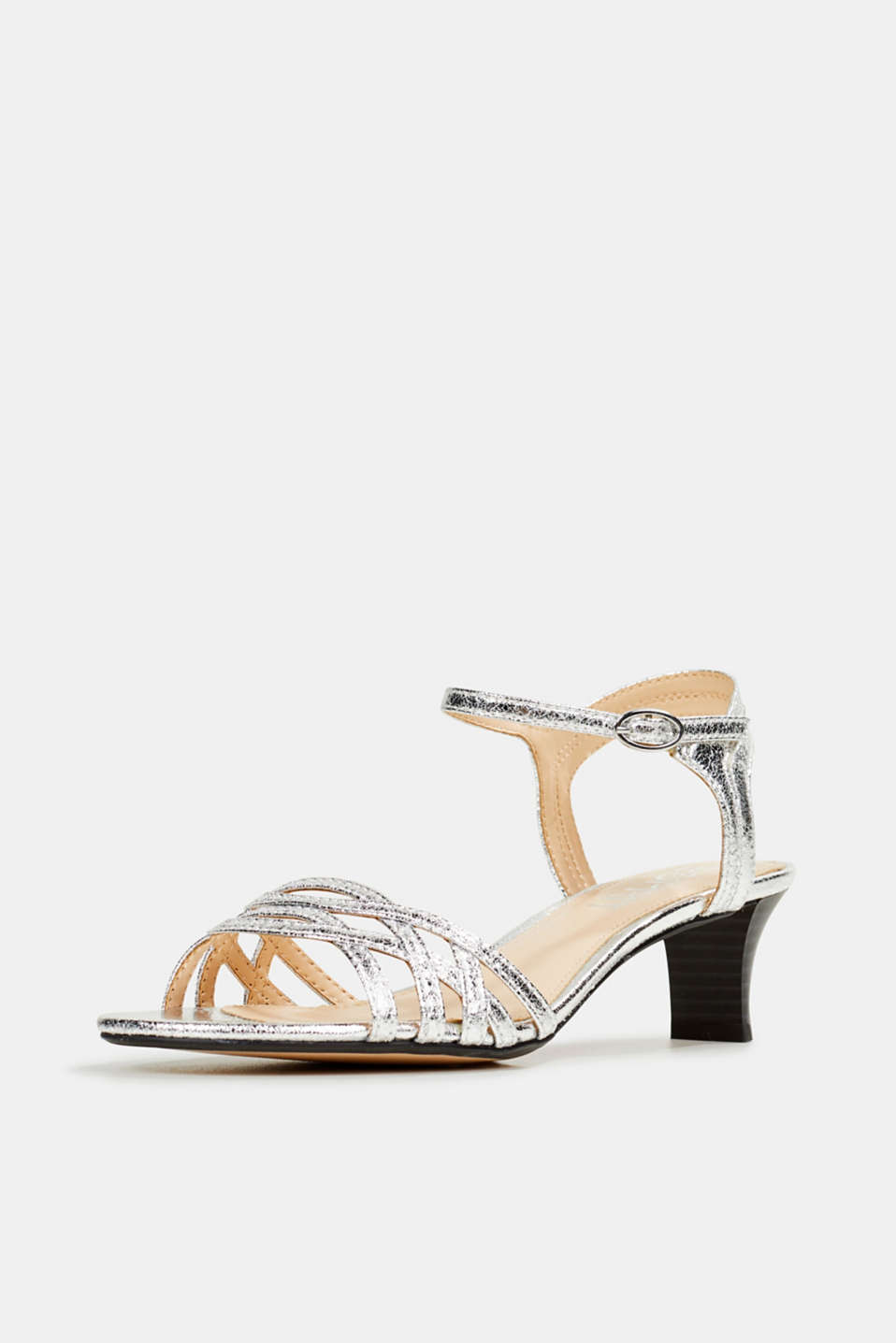 Sandals with straps in a braided look, SILVER, detail image number 2