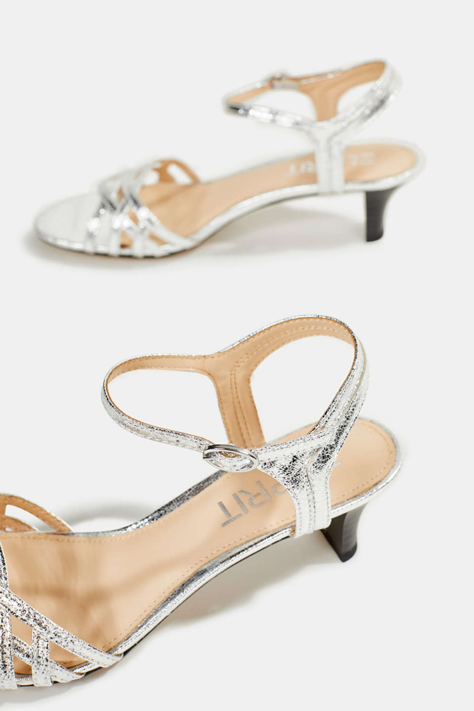 Sandals with straps in a braided look, SILVER, detail image number 5