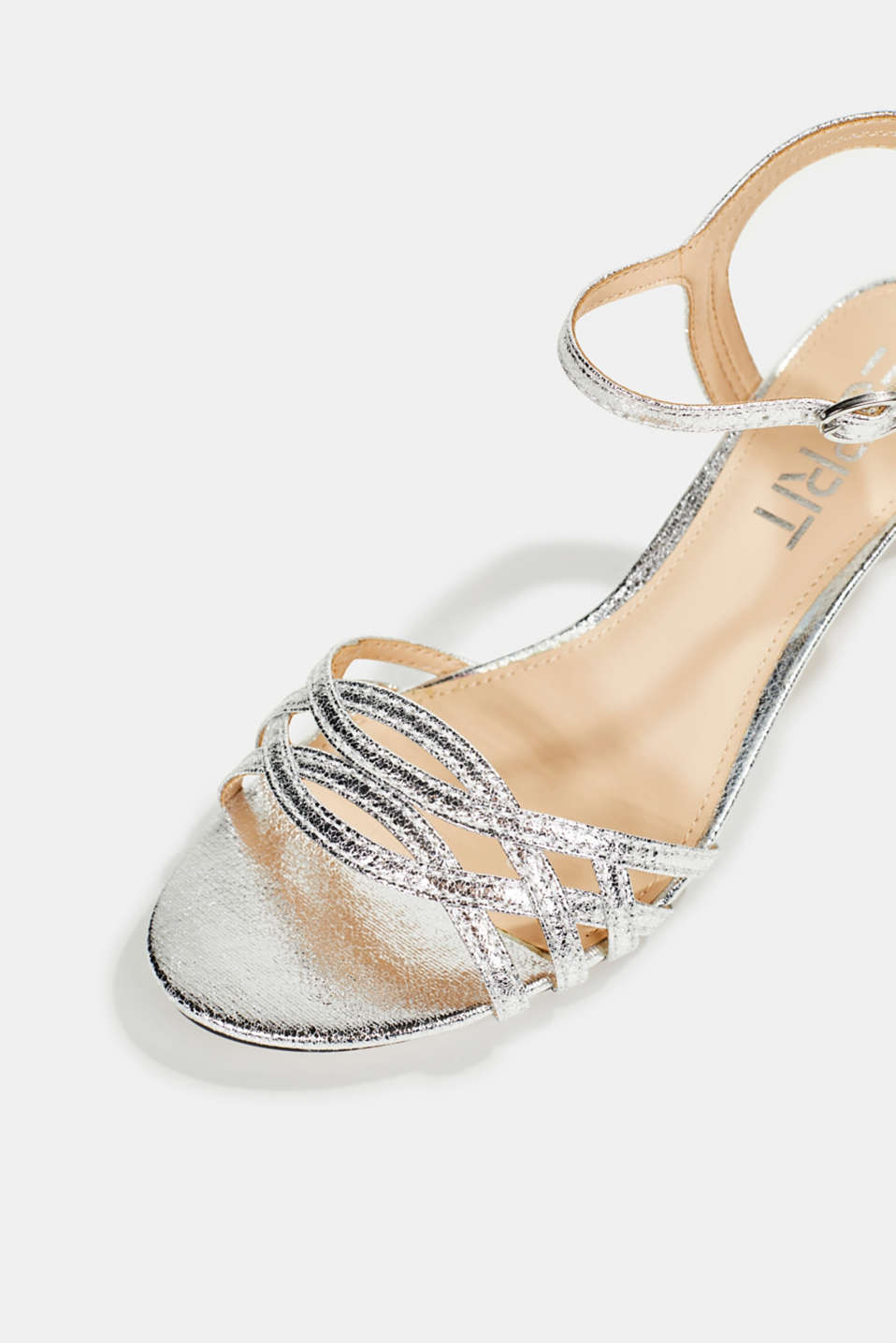 Sandals with straps in a braided look, SILVER, detail image number 4