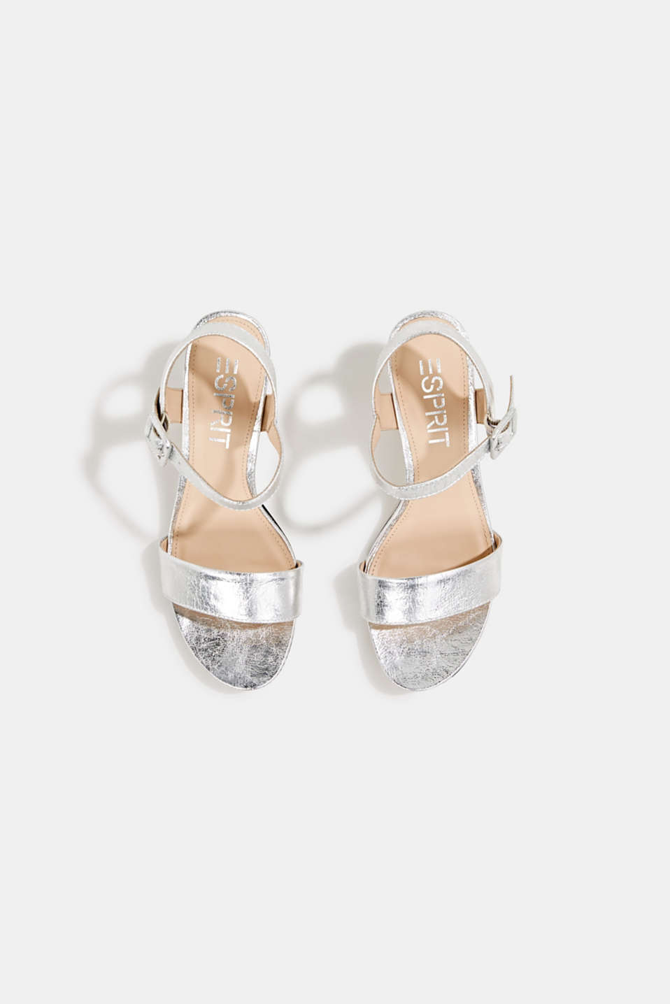 Sandals in a crushed metallic look, SILVER, detail image number 1