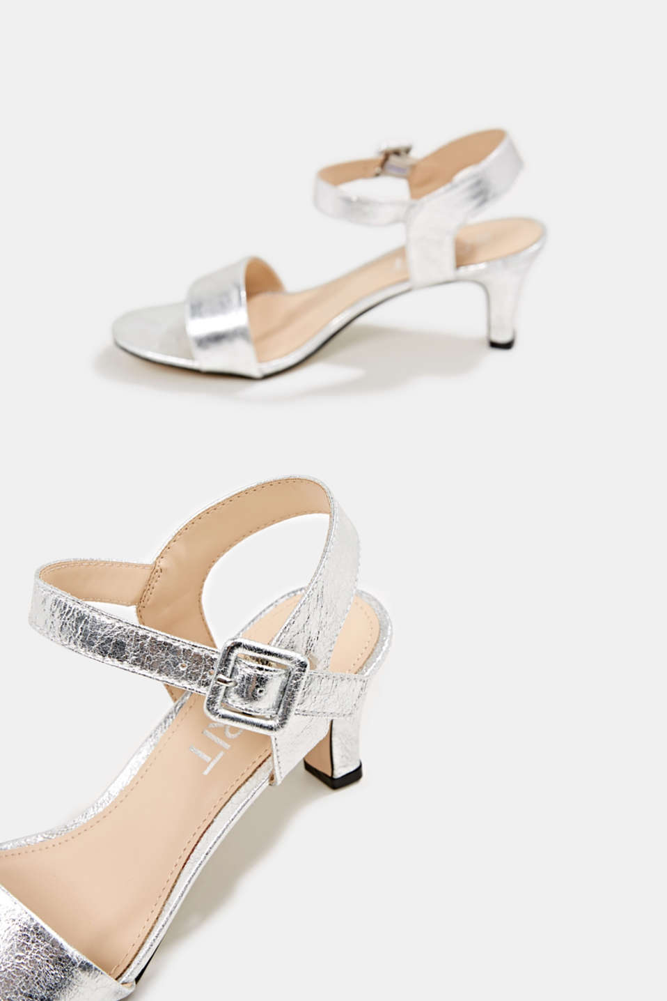 Sandals in a crushed metallic look, SILVER, detail image number 5