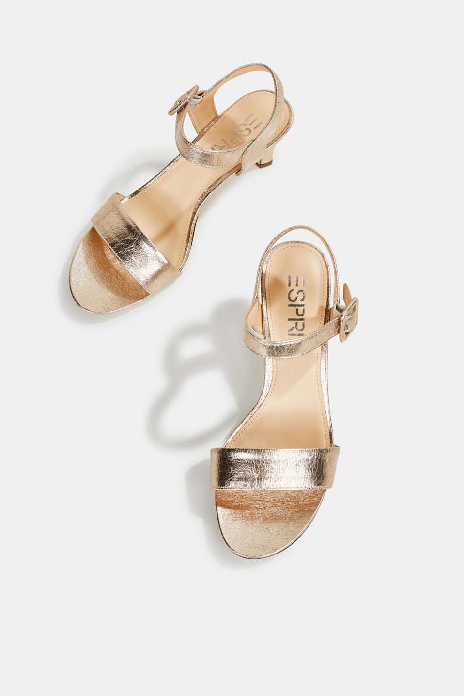 Sandals in a crushed metallic look, SKIN BEIGE, detail image number 1