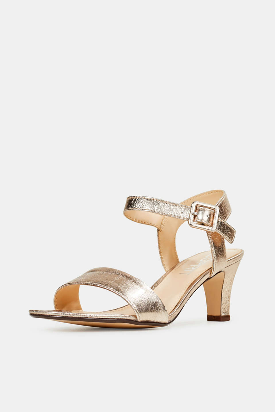 Sandals in a crushed metallic look, SKIN BEIGE, detail image number 2