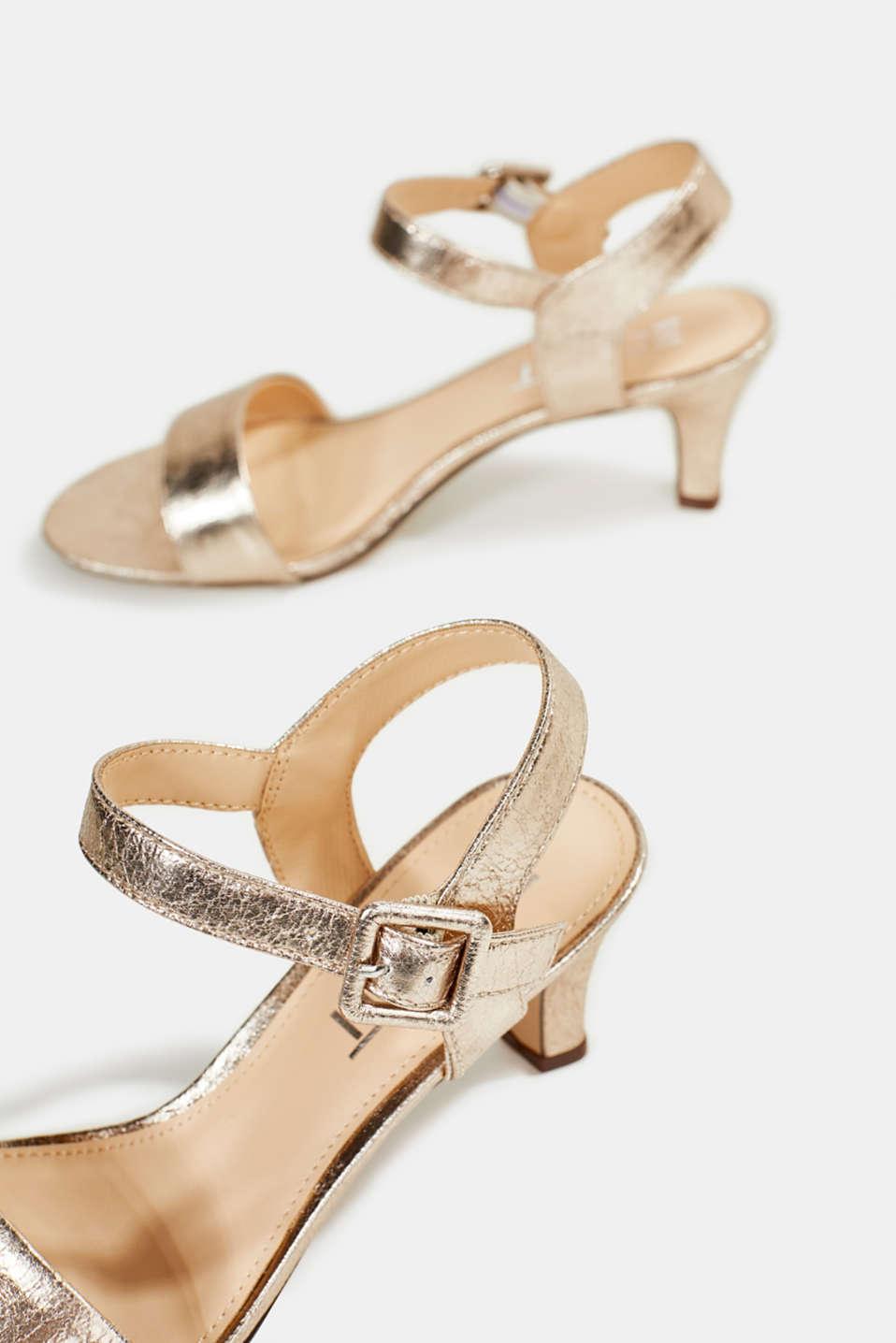 Sandals in a crushed metallic look, SKIN BEIGE, detail image number 6