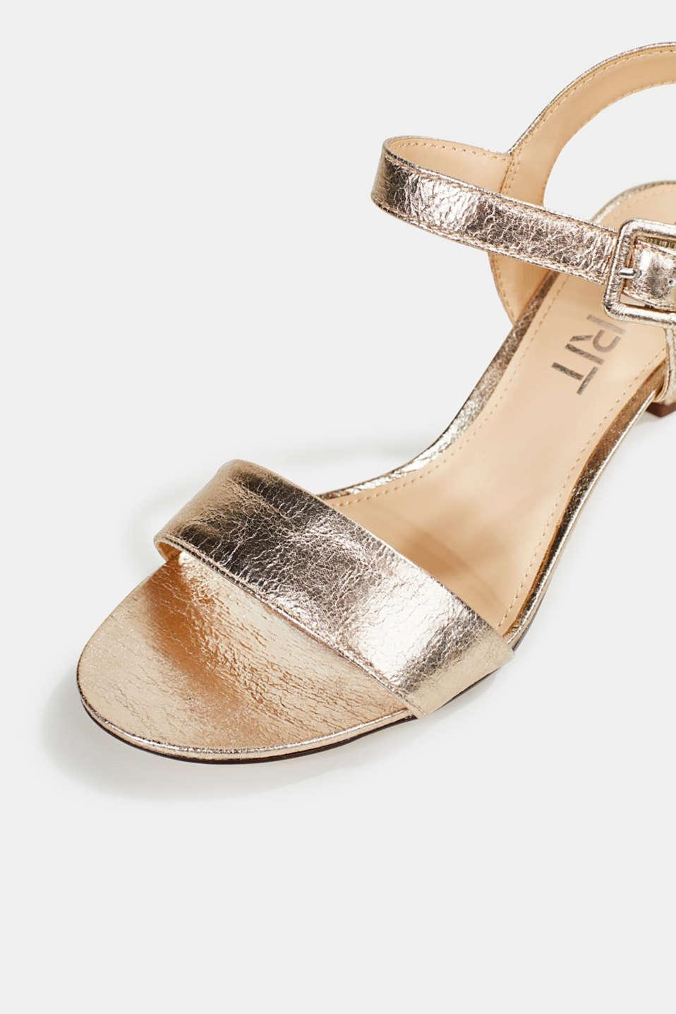 Sandals in a crushed metallic look, SKIN BEIGE, detail image number 4
