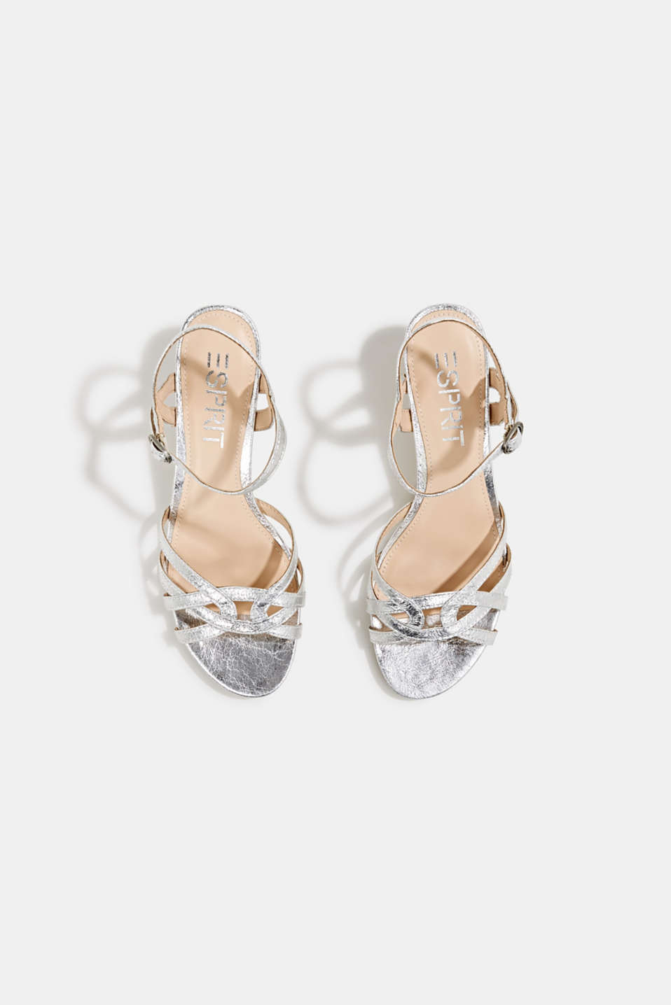 Shiny strappy sandals, SILVER, detail image number 1