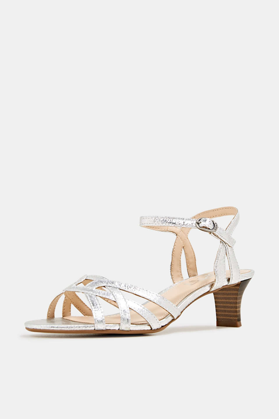 Shiny strappy sandals, SILVER, detail image number 2