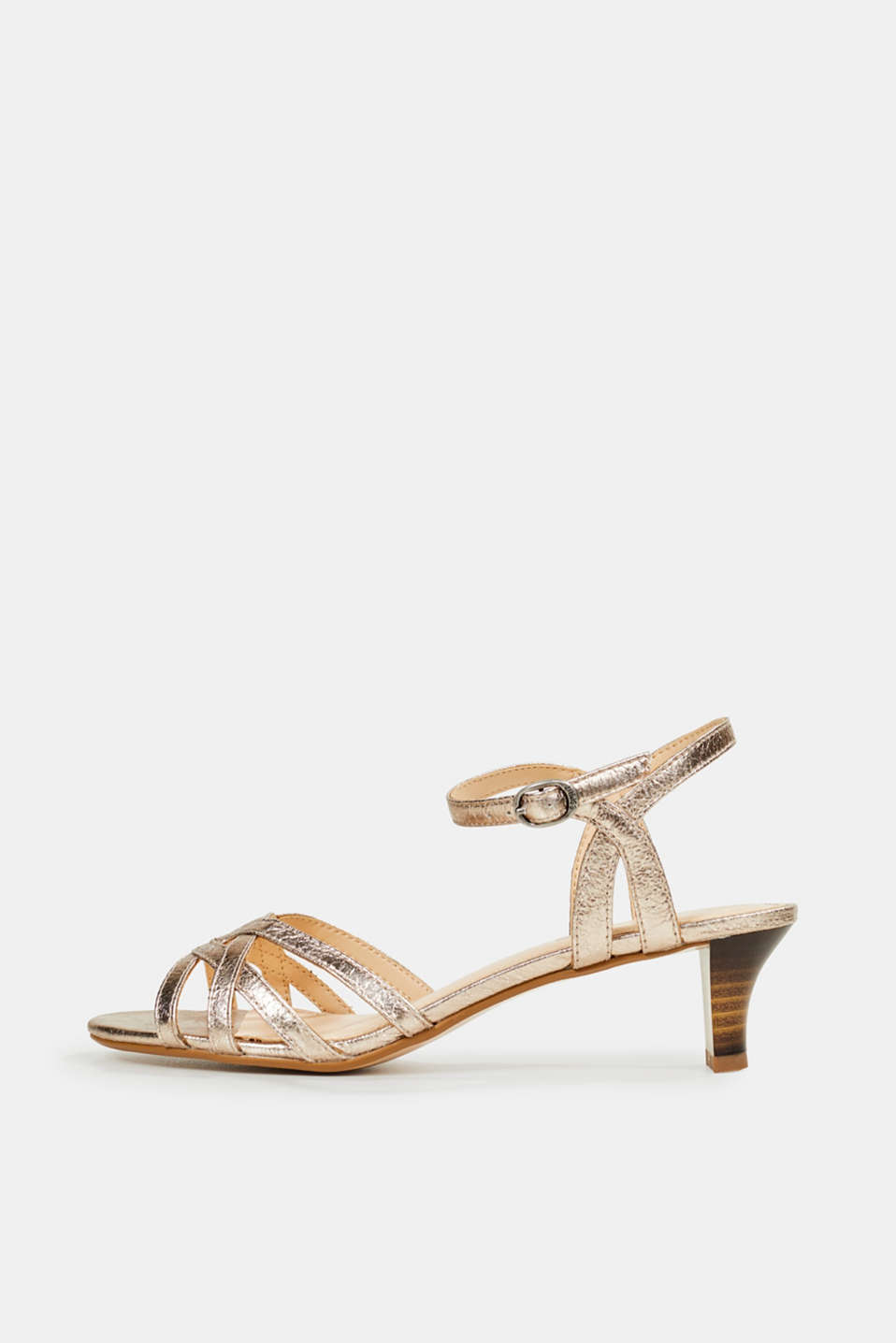 Shiny strappy sandals, SKIN BEIGE, detail image number 0