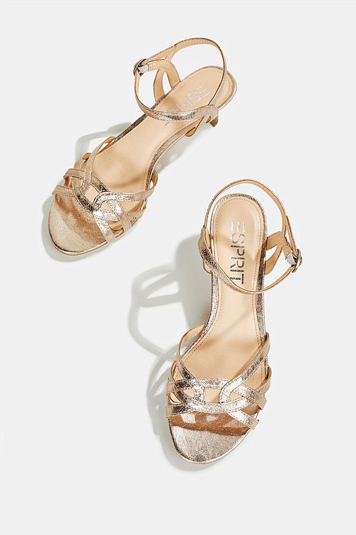 Shiny strappy sandals, SKIN BEIGE, detail image number 1