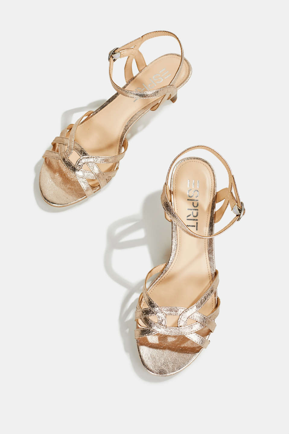 Shiny strappy sandals, SKIN BEIGE, detail image number 1