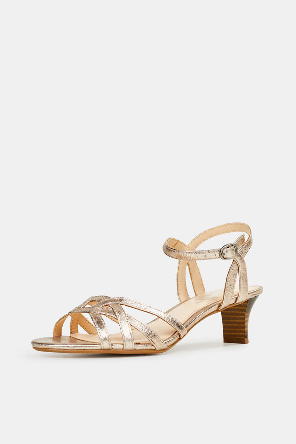 Shiny strappy sandals, SKIN BEIGE, detail image number 2