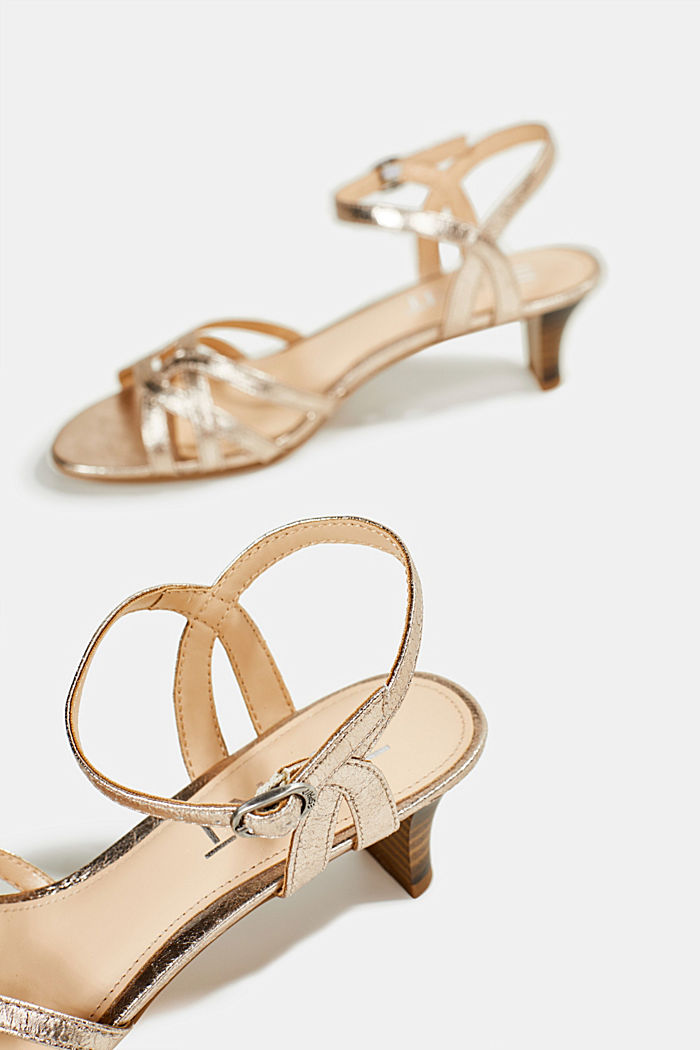Shiny strappy sandals, SKIN BEIGE, detail image number 5