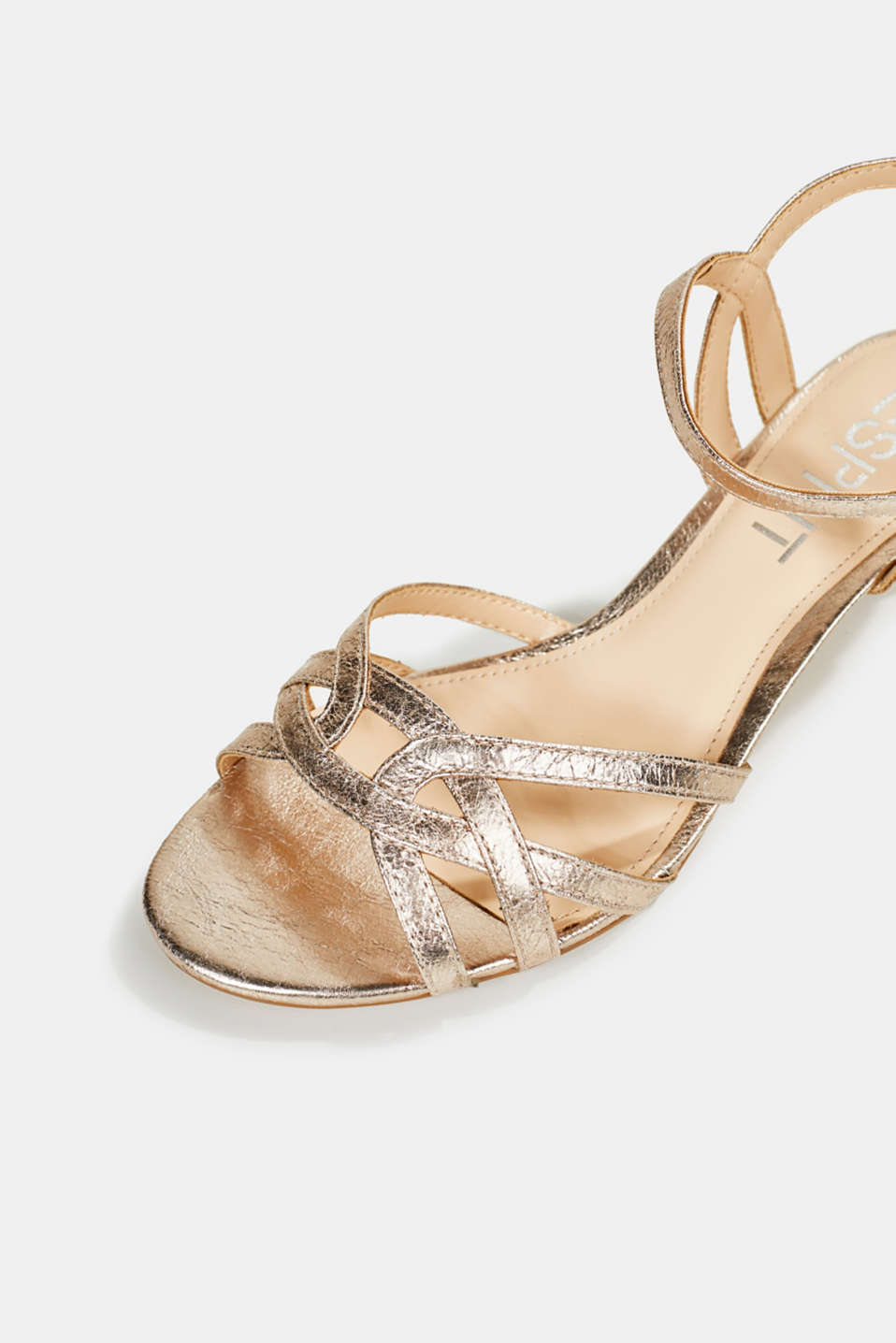 Shiny strappy sandals, SKIN BEIGE, detail image number 4