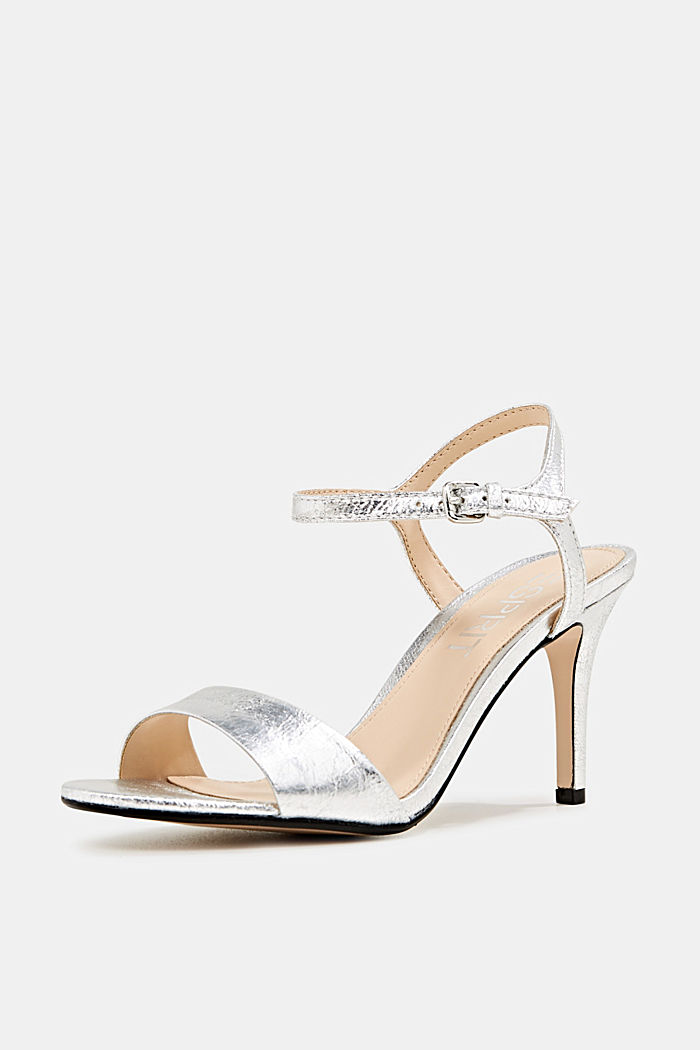 Sandals in a crushed metallic look, SILVER, detail image number 2