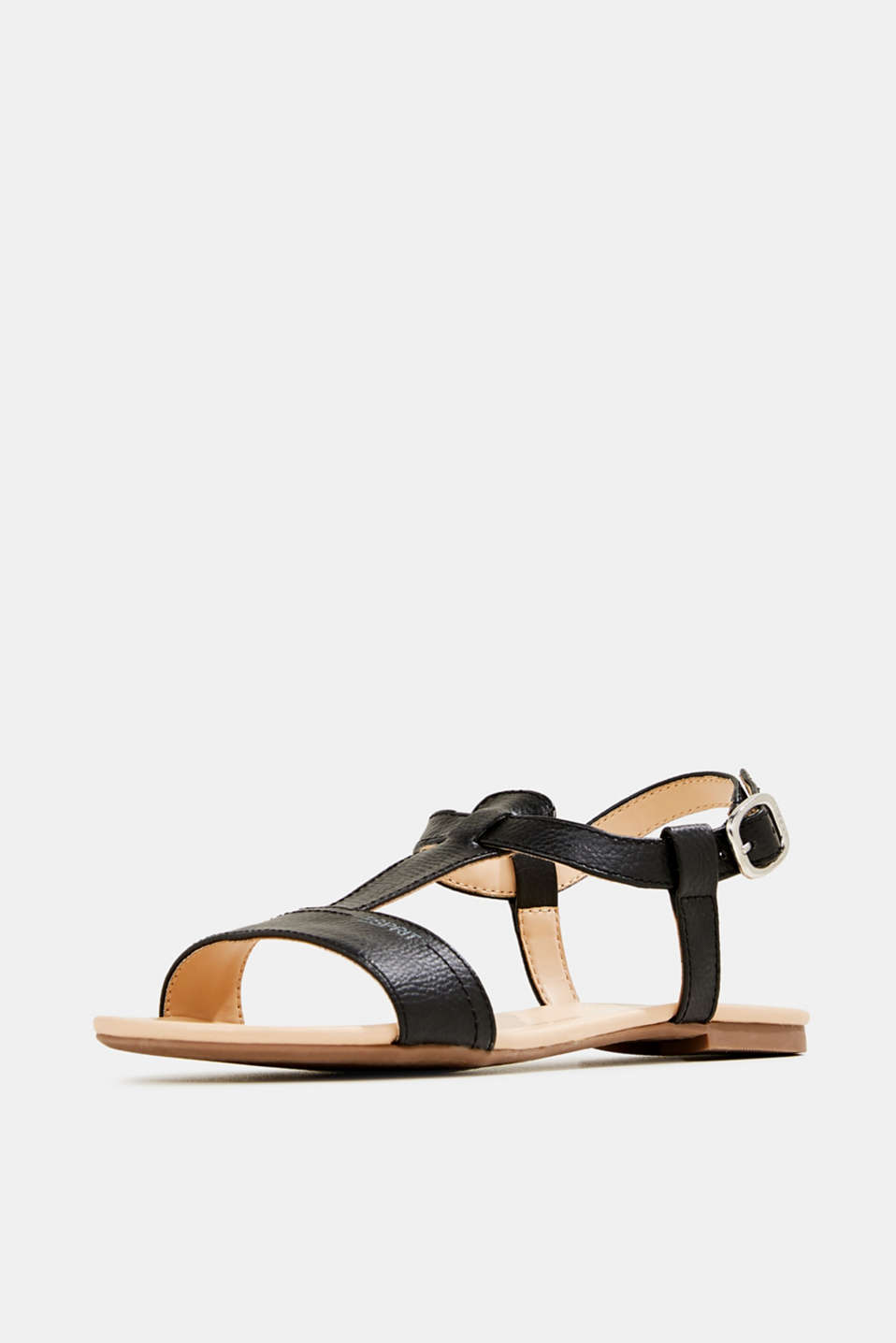 Faux leather sandals, BLACK, detail image number 2