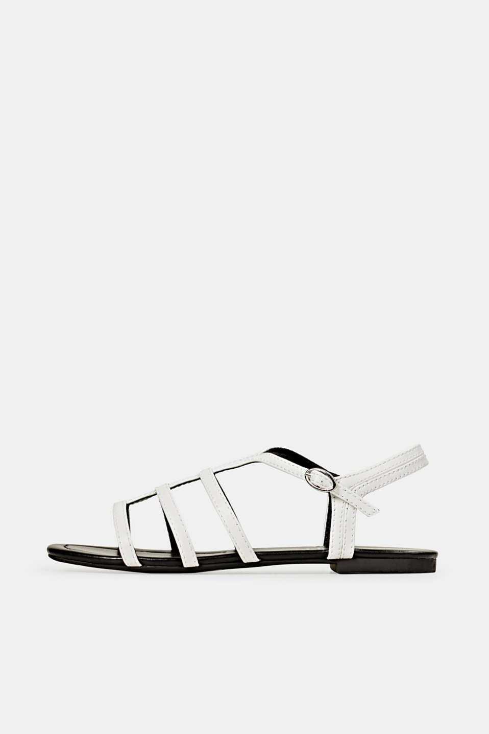 Faux leather sandals, WHITE, detail image number 0
