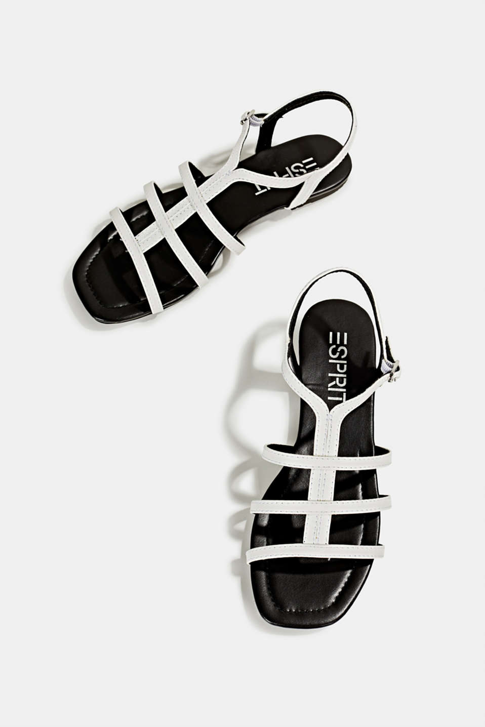 Faux leather sandals, WHITE, detail image number 1
