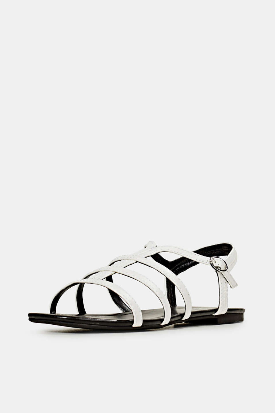 Faux leather sandals, WHITE, detail image number 2