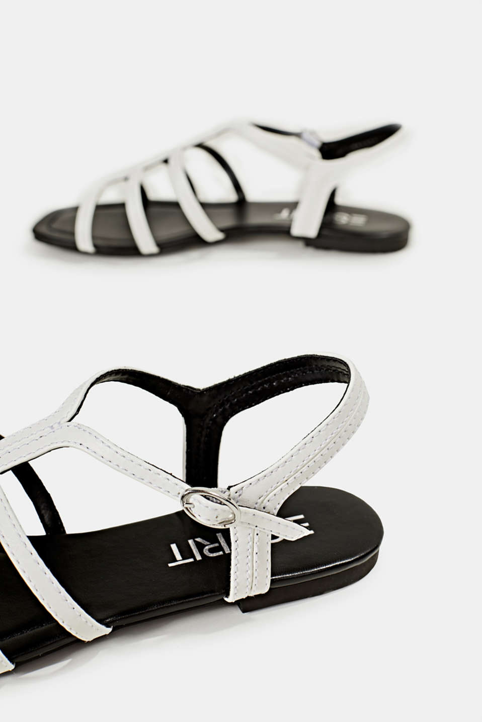 Faux leather sandals, WHITE, detail image number 5