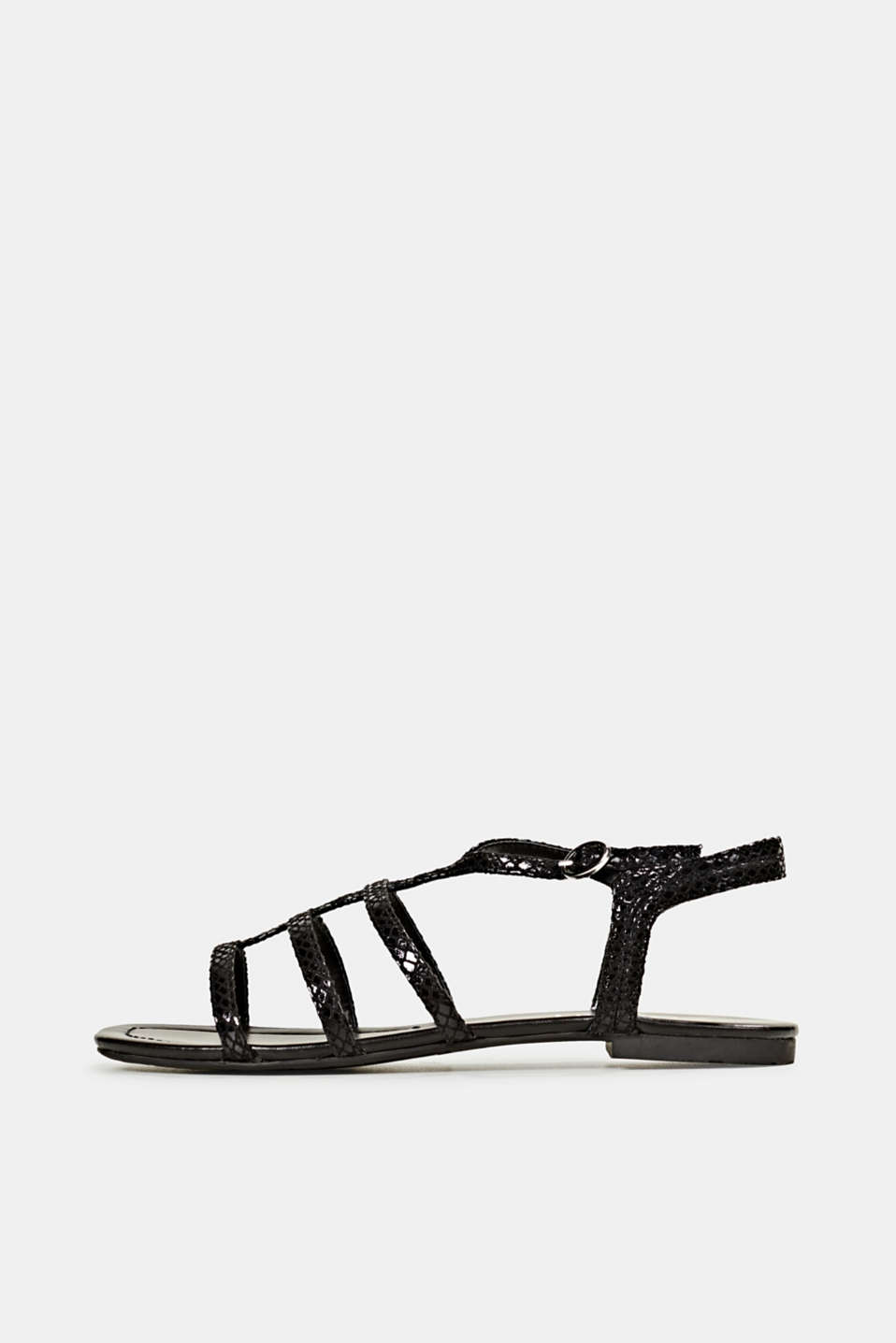 Snakeskin-effect sandals, BLACK, detail image number 0