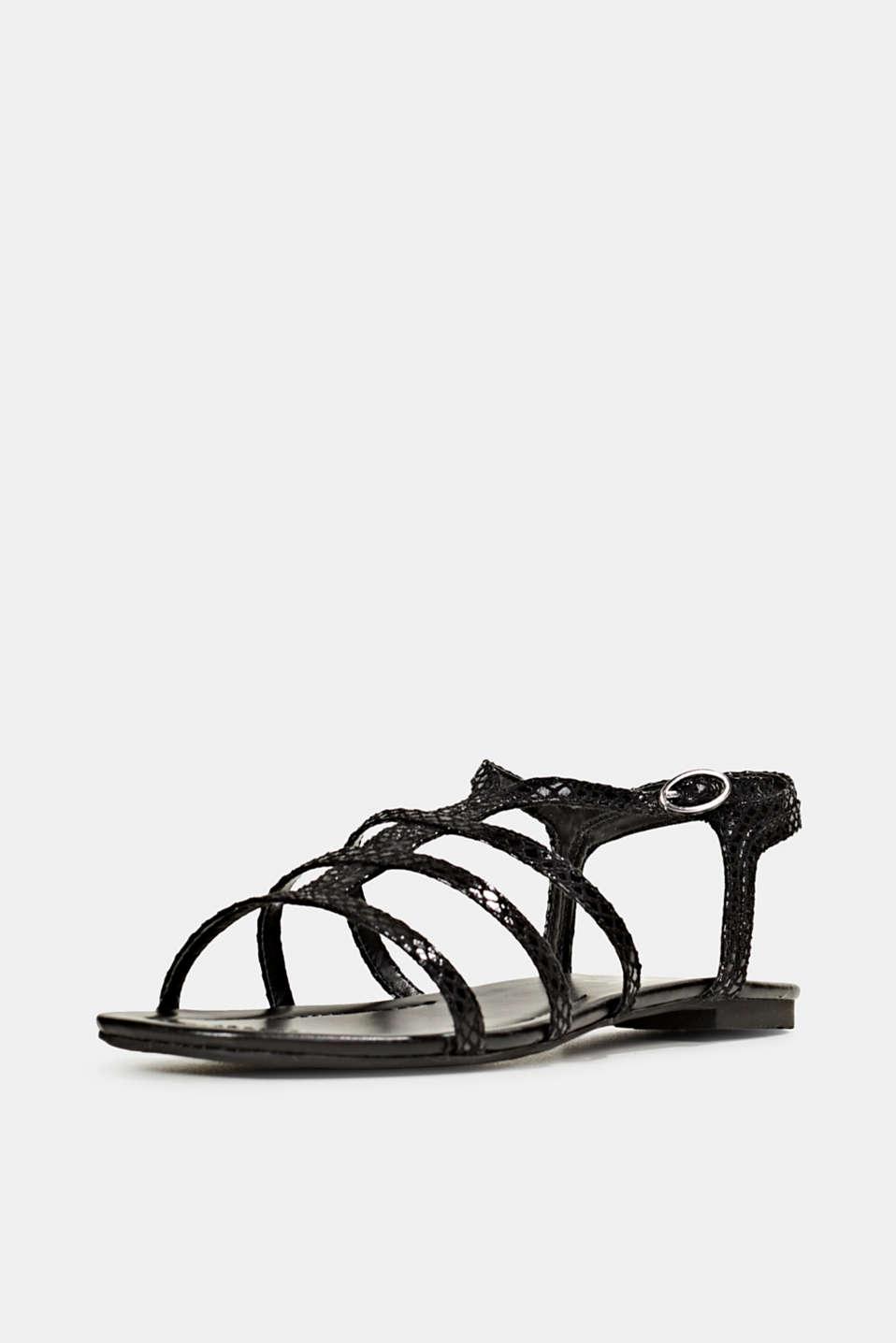 Snakeskin-effect sandals, BLACK, detail image number 2
