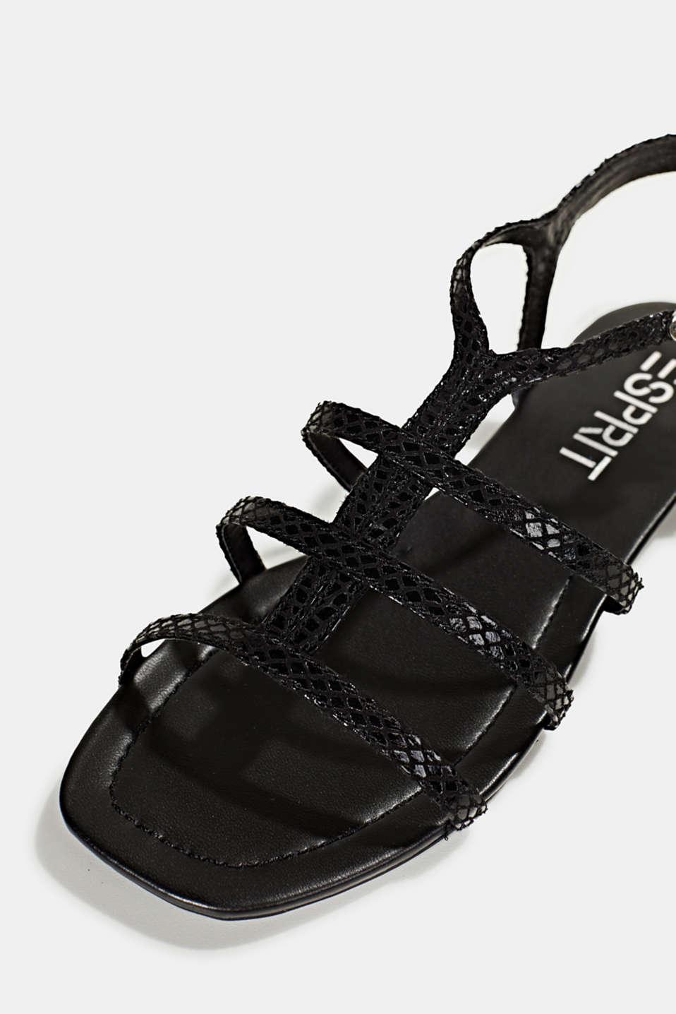 Snakeskin-effect sandals, BLACK, detail image number 4