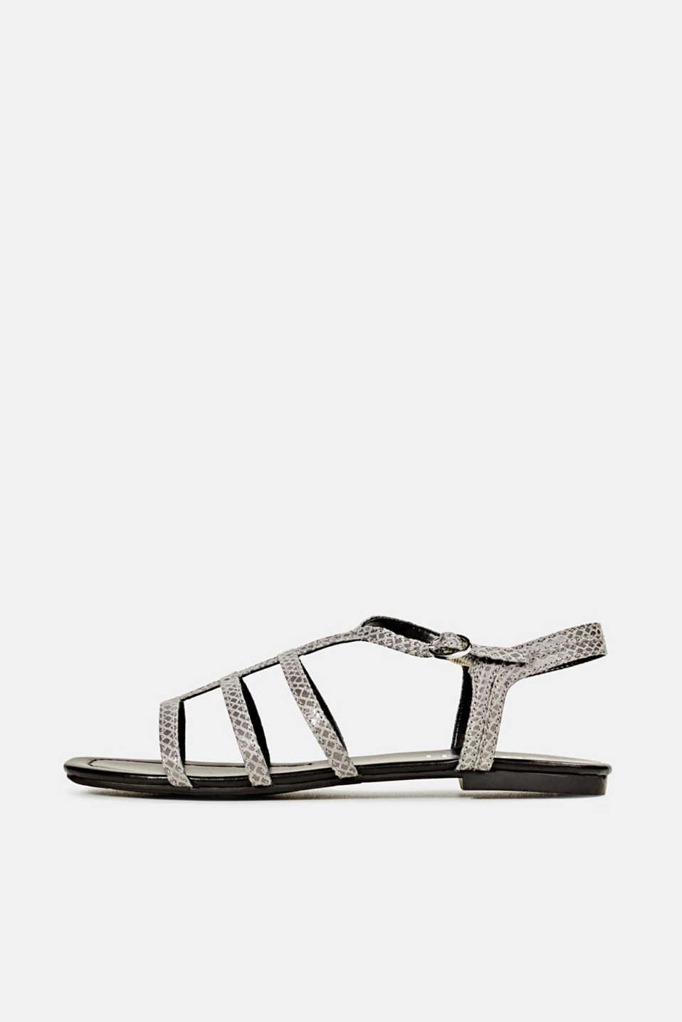 Snakeskin-effect sandals, GREY, detail image number 0