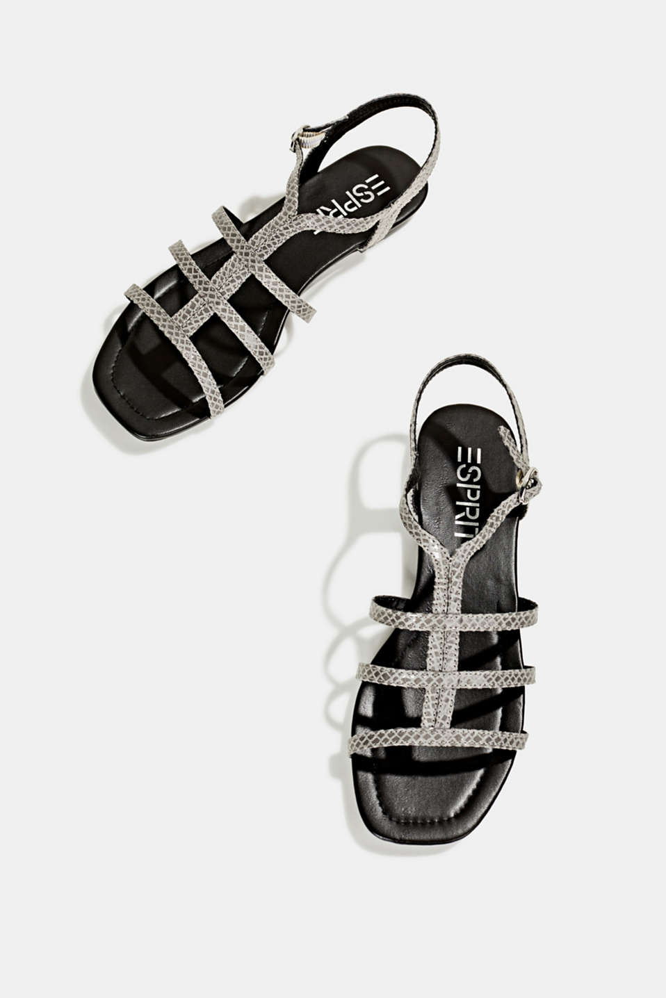 Snakeskin-effect sandals, GREY, detail image number 1