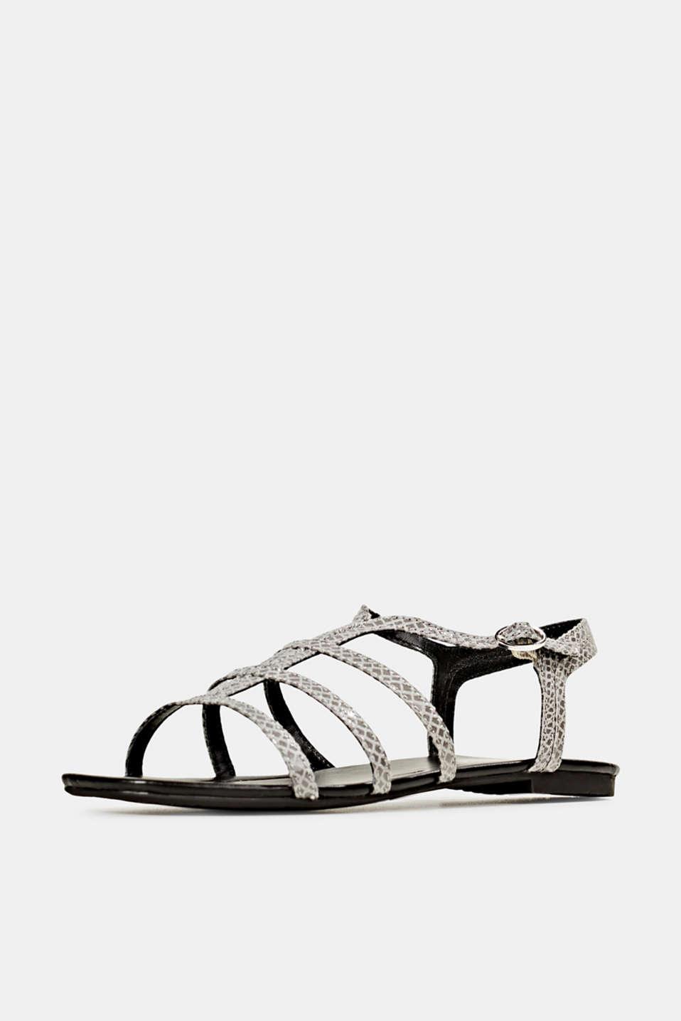Snakeskin-effect sandals, GREY, detail image number 2