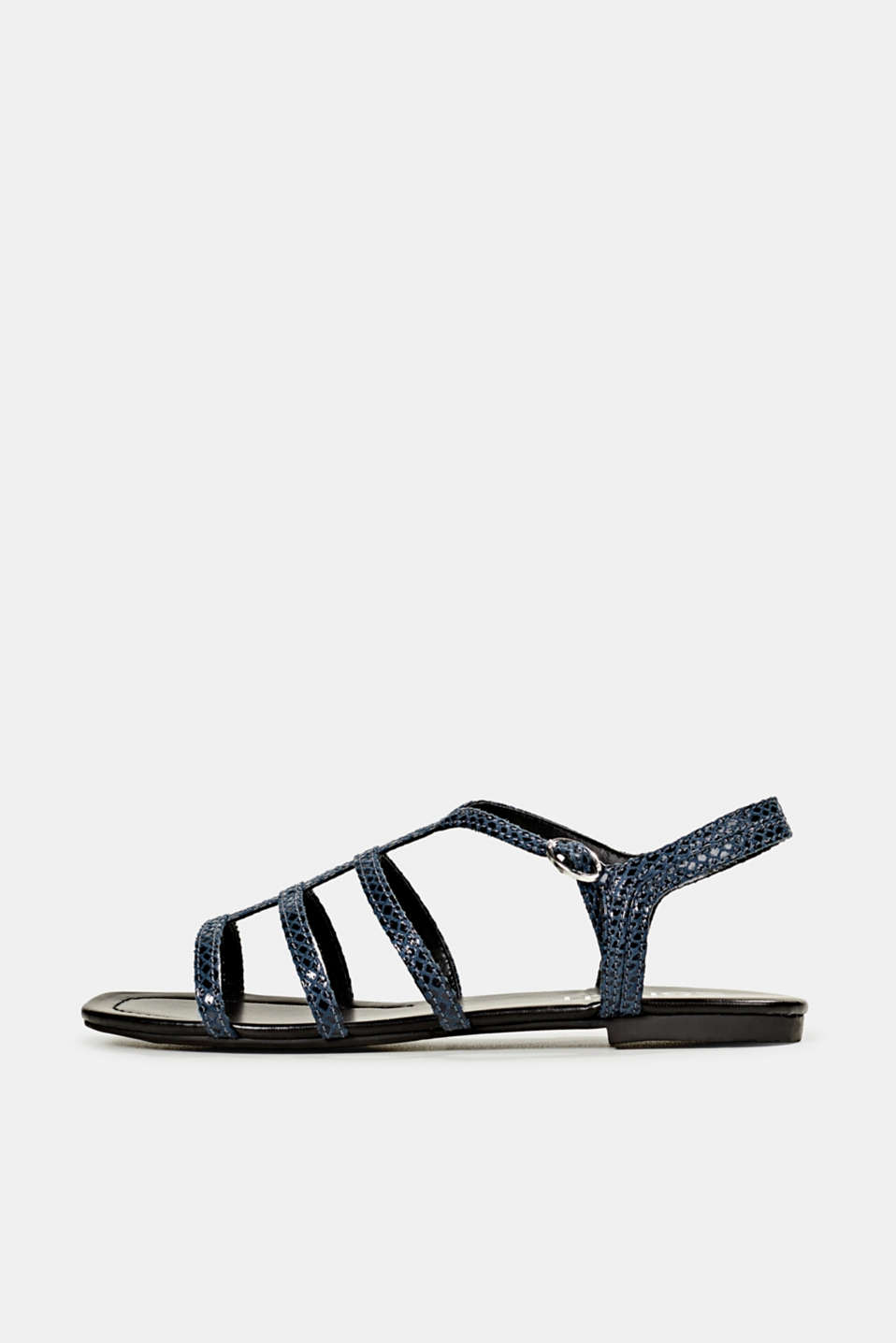 Snakeskin-effect sandals, NAVY, detail image number 0