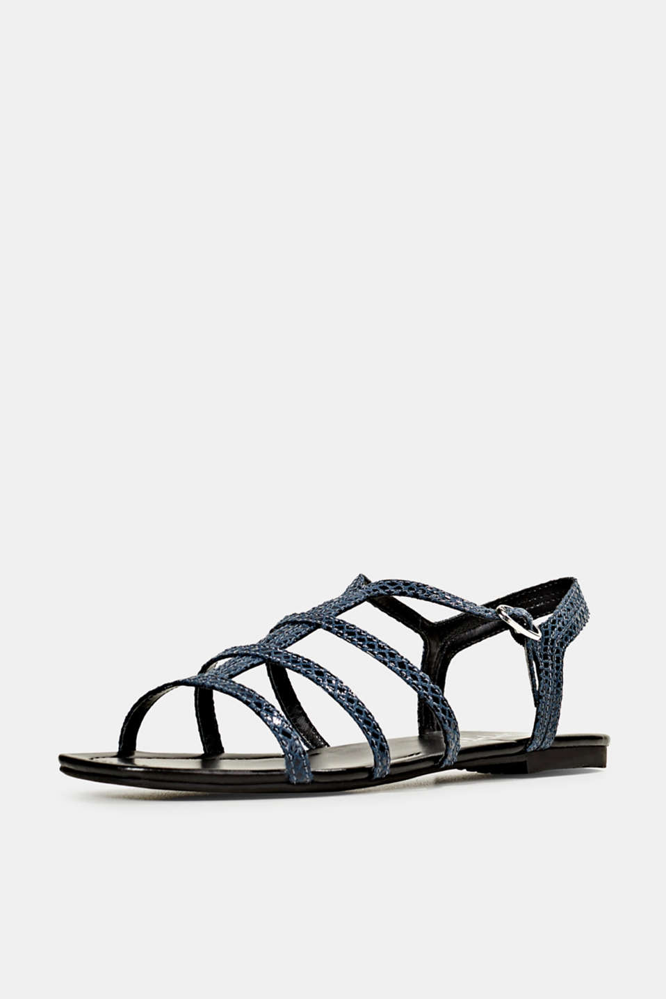 Snakeskin-effect sandals, NAVY, detail image number 1