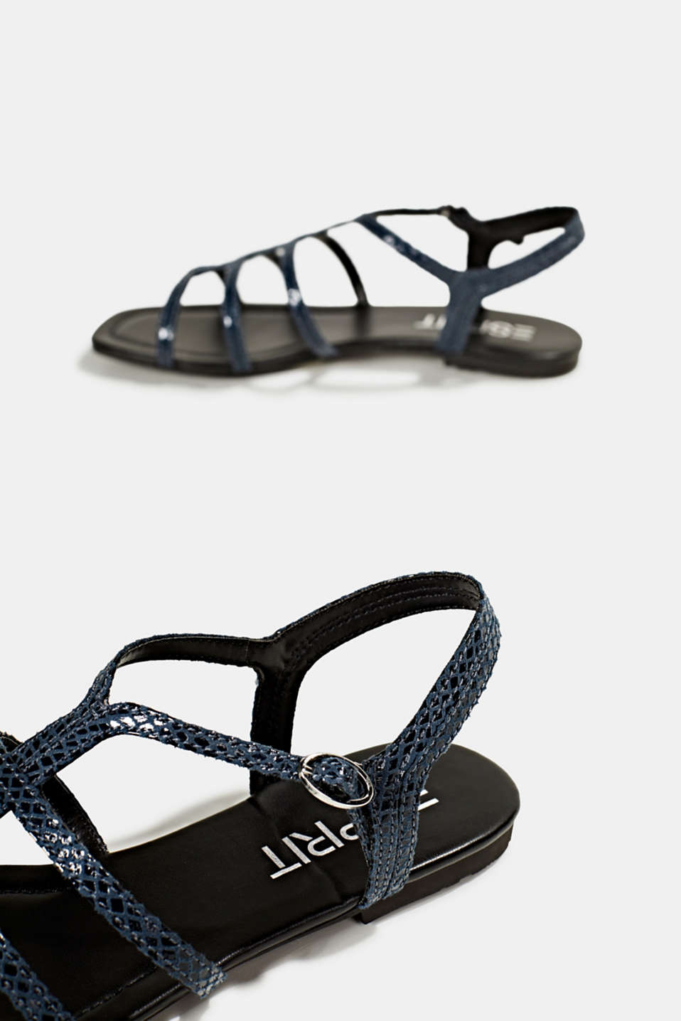 Snakeskin-effect sandals, NAVY, detail image number 4