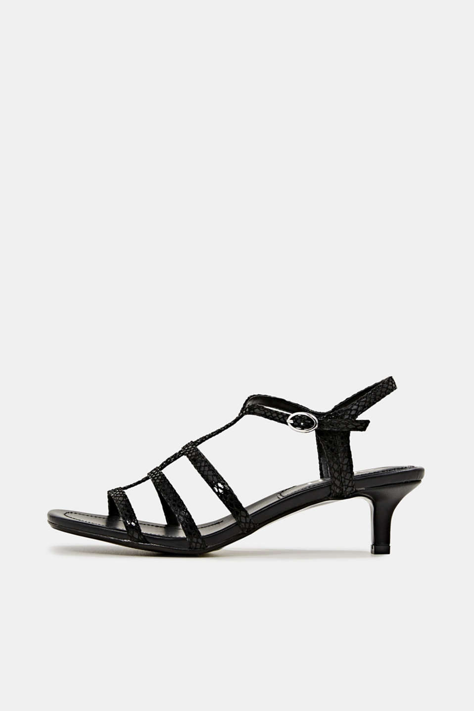 Esprit - Shiny sandals in faux crocodile skin leather